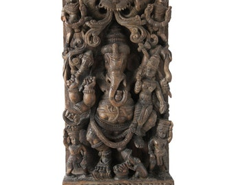 Large  Wood Carving Ganesh, India