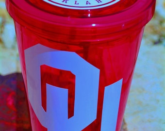 Personalized Oklahoma OU Sooners 16 oz Double Walled Tumbler Cup with Lid / Straw