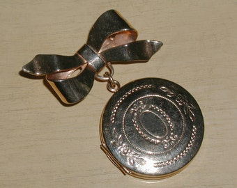 Vintage Goldtone Embossed 2-Photo Dangle Locket on Bow Brooch