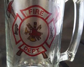 Fireman Beer Mug / Set of 2 / 28.2oz Beer Mug/ Fire Department Mug / Fireman Beer Stein