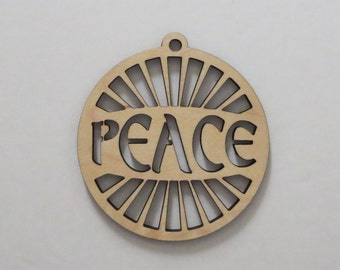Laser Engraved Peace Wood Christmas Tree Ornaments