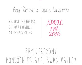 Printable, customisable - Wedding invitation