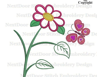 Flower with filled butterfly embroidery applique design, machine embroidery download, btf-001-2