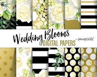 Floral Digital Paper: Watercolor White Roses,Black & White Stripes, Gold Polka Dots, Moroccan Patterns-Stickers, Invitations, Backgrounds