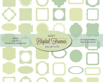 Digital Clipart: Green Pastel Frames Patches/Shabby Chic