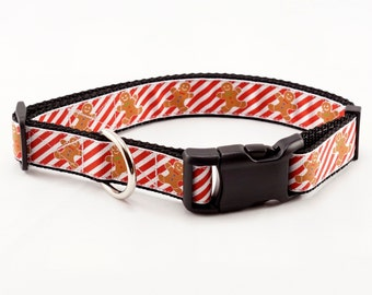"""Gingerbread Dog Collar (1"""" width) - Leash - Large - Extra large"""