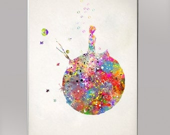 Little Prince, Watercolor Print  Print Children's Wall Art Home Decor Wall Hanging