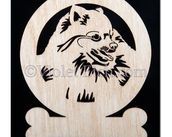 Pomeranian Ornament-Pomeranian Gift-Wood Pomeranian Gift-Free Personalization