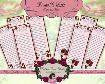 """Printable To Do Lists ~ Inspirational """"Do All Things With Love""""~ Enchanting Rose Flower Child~ DIGITAL DOWNLOAD PRINTABLE"""