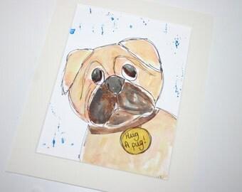 SALE pug watercolour, dog art, dog painting, dogs, original art, original watercolour, pug