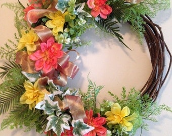 """17"""" Grapevine with Peach & Yellow Silk Floral Wreath - Summer Floral Door Decor - Door Decor - Summer Wreath - Summer Decor - Spring Decor"""