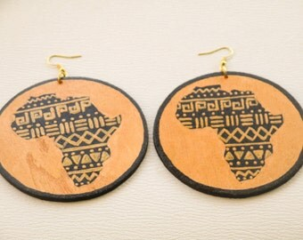 Gold and Black Tribal Africa Earrings