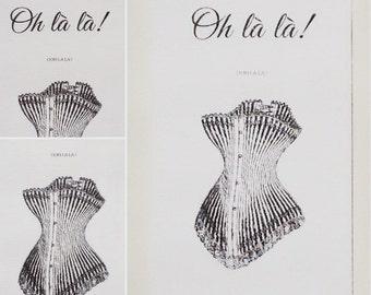 """Wooden sign """"Oh là là"""", """"Ooh la la"""", corset"""