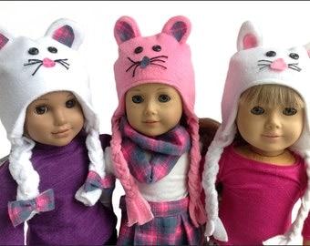 18 Inch Doll Clothes | fleece animal ear flap winter hats