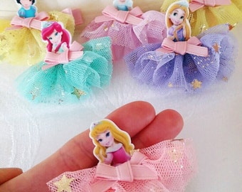 Disney Princess Clip,  Princess Dress, Disney Double prong, Baby Hair clip, Belle , Ariel , Rapunzel , Cinderella , Snow White , Aurora