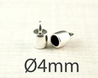 2 x end caps Ø4mm antique silver kind. 1745