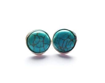 Boho Turquoise Round Stud Earrings