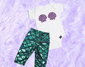 Baby Girl Mermaid Outfit, Baby Girl Clothes, Mermaid Baby Outfit, Baby Girl Shirt, Baby Girl Clothing, Baby Girl Leggings, Baby Shower Gift
