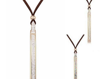 Brown Leather And Austrian Crystal Necklace