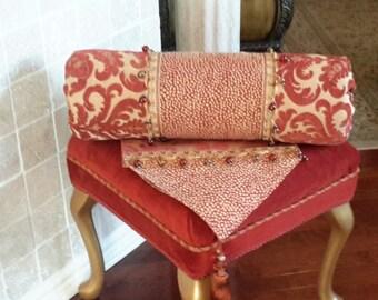 "Red and Gold Bolster Pillow,  Designer Pillows, Neckroll Pillows - Size 22"" X 7"""