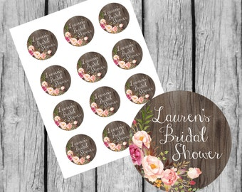 Bridal Shower Favor Tags Printable. Custom Bridal Shower Stickers. Personalized Bridal Shower Tags. Thank you Favors Baby Shower.