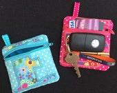personalised purse, fabric purse, Keyring purse, Pocket money purse, Zipped card pouch, gadget case, small accessory purse, child's purse