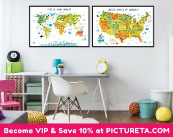 Childrens World Map Daycare Decor Classroom Decor Playroom - World map for playroom