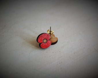 POPPY  WOODEN EARRINGS,could be an original gift