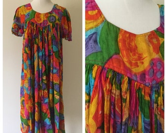 Vintage 1960s Multicolored Short-Sleeved Empire Waist A-Line Dress