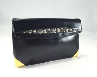 Vintage Christian Dior Black Leather Bag 2 Way