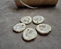 Deer antler slice charms Antler pendants Natural deer antler for jewelrymaking 5pcs