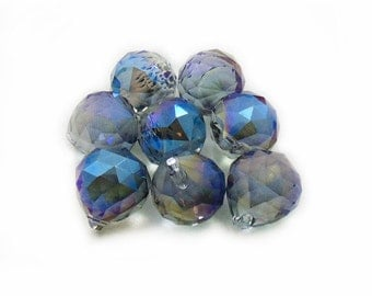 Crystal Blue Drip Beads, 16mm Blue Drip Round Beads, Drip Round Beads, Blue Drip Round Beads, 8pcs Crystal Drip Beads, Jewelry Making