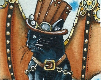 ACEO Steampunk Kitty