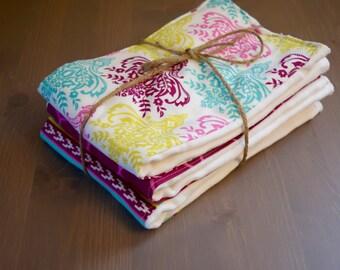 Burp Cloth set of 3, pink and green baby girl