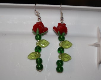 Red Glass Long Stem Rose Earrings