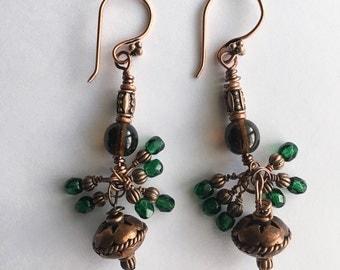 Green & Brown Copper Earrings