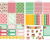 Strawberry Planner Sticker Kit for Erin Condren, Happy Planner, Filofax, Kikki K, Kate Spade etc