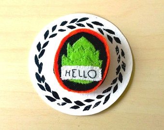 Embroidery Brooch - Vegan Brooch - Felt ARTICHOKE, Food pin, Punk, Comics Brooch, Hand embroidery, Lettering Brooch