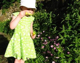Girls green dress, girls dress, girls summer dress, girls pinafore, girls cotton dress, girls party dress, girls everyday dress