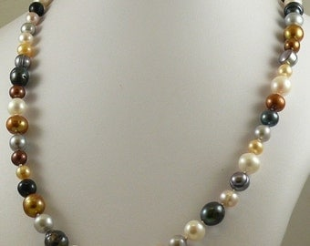 Freshwater Multicolor Pearl Necklace 7.7mm x 11.5mm 14k White Gold Clasp 35 1/2""