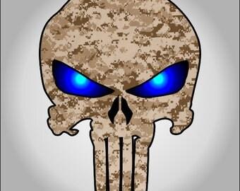 Desert Digital Camo Punisher sticker / decal **Free Shipping**