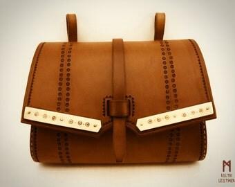 Leather belt bag,  pouch