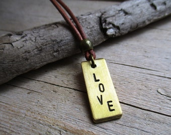 HANDMADE necklace with brass LOVE tag pendant on brown leather cord 80 cm long.