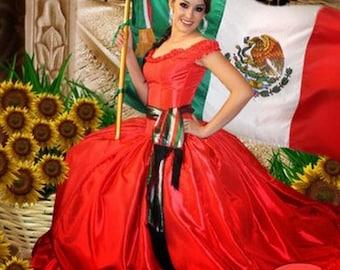 Mexican dress. Mexican Fiesta Dress. Mexican  Quinceañera Dress. Vestido Mexicano. Mexican quinceanera Dress. Quince dress
