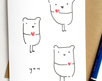 Cute card - With love card  - Anniversary Card - Get Well Card -Simple card - Cute  - Bear card- Kawii card - Cure Birthday