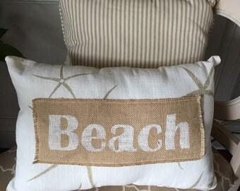 Beach Pillow in Starfish Fabric