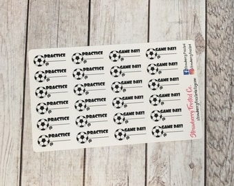 Soccer Game/Practice Planner Stickers - Made to fit Vertical or Horizontal Layout