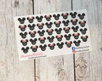 MINI Disney Trip Countdown Planner Stickers- /Personal Size Planner