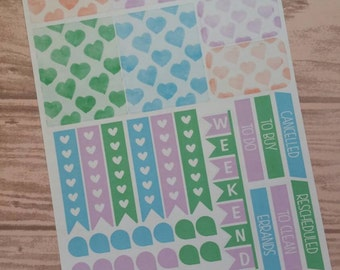 Watercolor Hearts Themed Planner Stickers- Made to fit Vertical Layout