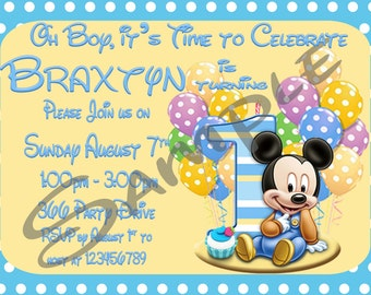 Mickey Mouse 1st Birthday Print your Own Invitation Digital File